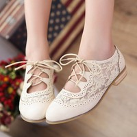 White Lace Cutout Oxford