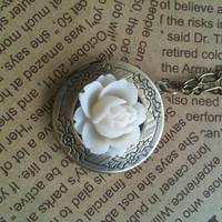 antique bronze  rose flower Locket in white by Victorianstudio