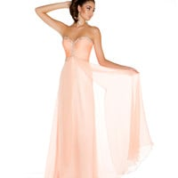 Mac Duggal Prom 2013 - Strapless Peach Gown With Sequin - Unique Vintage - Cocktail, Pinup, Holiday &amp; Prom Dresses.