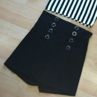 Black High Waisted Shorts w/ SIlver Buttons from Belle La Vie Boutique