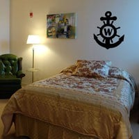 Nautical Anchor Monogram - Vinyl Wall Art Decal Stickers Decor Graphics