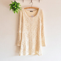 Delicate Crochet Lace Long Sleeve Dress