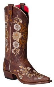 Anderson Bean Macie Bean Ladies Chocolate Brown w/ Floral Embroidery