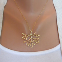 Tree Necklace in Gold by morganprather on Etsy