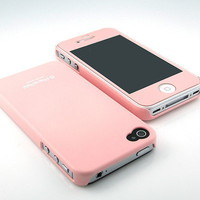 New Premier Pink Gloss face hard back case cover+Pink HD film for iPhone 4 4S 4G