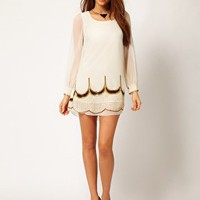 Little Mistress Scallop Embellished Shift Dress at asos.com