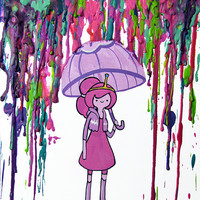 Adventure Time Inspired Art Print  - Princess Bubblegum - Peebles -  Crayon Art - Melted