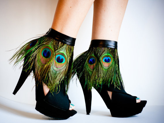 Peacock Feather Ankle Cuffs with band by jdotdesigns on Etsy