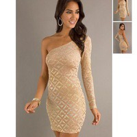 Short Gold Metallic Tan One Shoulder Sleeve Party Clubbing Dress Sequin Glitter