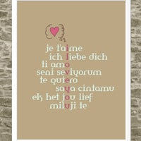 $30.00 Love Print Typography Art  I Love You  Je T'aime  by FlourishCafe