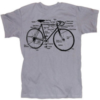 Retro Bike Diagram Bicycle Screen Printed Silver T-Shirt in S, M, L, XL, XXL