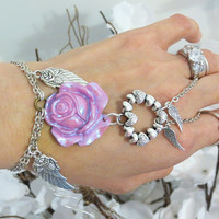 Rose Angel Heart Slave Bracelet Ring. An angel carries my heart Pink Rose Bracelet Ring. Adjustable
