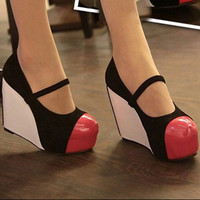 Ladies Drawstring Splicing High Wedges Red : Wholesaleclothing4u.com