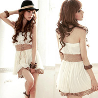Chiffon Strapless Lace Mini Dress