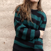 90s simple STRIPED hunter green &amp; blue grunge SLOUCHY warm sweater