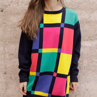 90s COLOR BLOCK slouchy vintage KRISS kross sweater