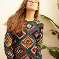 90s IKAT vintage ABSTRACT boxy slouchy Fair ISLE sweater
