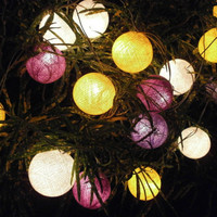 Purple White and Yellow tone mixed Hanging stringlights for party and home decoration indoor and outdoor (20 balls/pack)