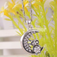 Vintage Silver Tone Clear Rhinestone Crescent Moon&Owl Pendant Necklace at Online Cheap Vintage Jewelry Store Gofavor