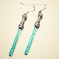 Star Wars Blue Light Saber silver earrings in FREE by crimsonking