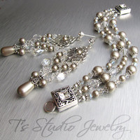ELIZABETH - Vintage Theme Wedding Crystal and Pearl Bracelet and Earring Set