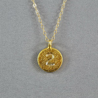 CUSTOM - Hand Stamped Disc Necklace, Lucky Number on Gold Vermeil Disc, 14K Gold Filled Chain, Personalized Necklace, FREE Birthstone
