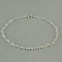 Mini Hearts Chain Bracelet, 925 Sterling Silver, Dainty and Delicate, Romantic and Charming