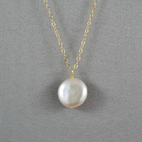 Beautiful Coin Pearl Necklace, 14K Gold Filled Chain, Modern, Simple, Delicate, also in Sterling Silver