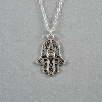 Hamsa Hand Necklace, Good Luck Necklace, 18K Gold Vermeil, 14K Gold Filled Chain, Modern, Simple, Everyday Wear Jewelry
