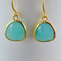 Aquamarine Glass Earrings, Gold Plated Bezel Charms, 14K Gold Filled Ear Wires, Everyday Wear Jewelry
