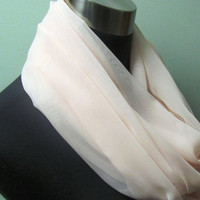 Sheer Pinkish Peach Infinity Scarf