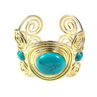 Summer Fashion Gold and Turquoise Vintage Look Cuff Bracelet - Like Love Buy