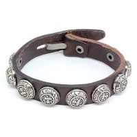 Top Value Jewelry - Mens Brown Leather Biker Bracelet with Vintage Silver Plated Round Accents - Like Love Buy