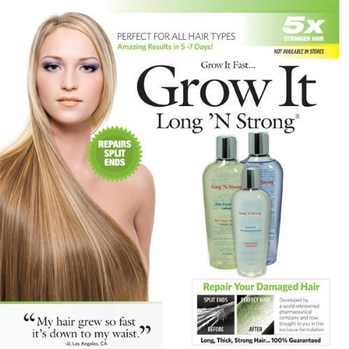 Amazon.com: Want Longer Hair? Want Stronger Hair? Grow Hair Fast! Buy Long &#x27;N Strong - Complete Treatment Set (Lotion, shampoo and texturizing serum) - Longer, Thicker Hair! - Split End Repair - Split end treatment!: Beauty