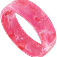 Glossy Pink Fuschia Marbled Plastic Bangle Bracelet Vintage - Like Love Buy