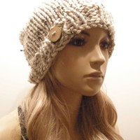 Oatmeal Beige Tan Tweed Specs Slouchy Hand Knit Ribbed Woodsy Beanie Hat With A Wood Button