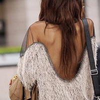 Furry Sheer Sweater Beige  from ♦STREETCARPET♦