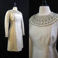 60s Dress Vintage Beaded Cleopatra Collar Rhinestone Cocktail Party Dress L