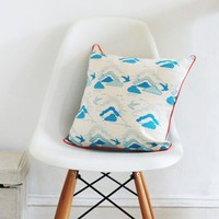 Our Workshop | Bird and Cloud Cushion - Blue