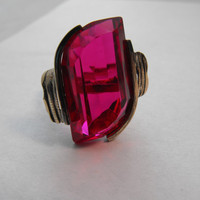Mexican Ruby Red Glass Ring by GiltyGirlVintage on Etsy