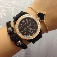 Rose Gold Rhinestone & Black Rubber Strap Watch   from Her Vanity Affair
