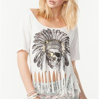 A&#x27;GACI Indian Headdress Skull Fringe Tee - TOPS