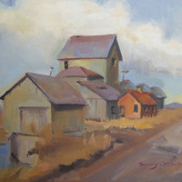 Farm of Houses, 12x16, FINE ART, original oil painting, Landscape. Huge art sale. farmers, houses, august art