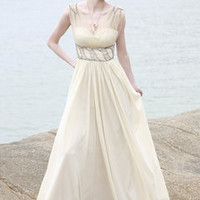 Off-White Empire Waist Organza Pageant Dress