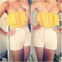 Yellow Eyelet Bandeau