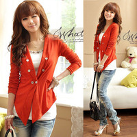 Lady Double-Breasted Thin Solid Cardigan Outerwear Tops