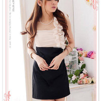 Ladies Temperament Floral Border Black Dresses Online : Yoco-fashion.com