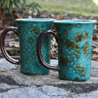 Large Mug Set  Rich Teal Blue and Brown by miasorellagifts on Etsy