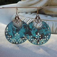 Boho Verdigris Crescent Earrings by lunarbelle on Etsy