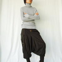 NO.95    Army Green Cotton Jersey Casual Harem Pants Unique Pockets Drop-Crotch Trousers